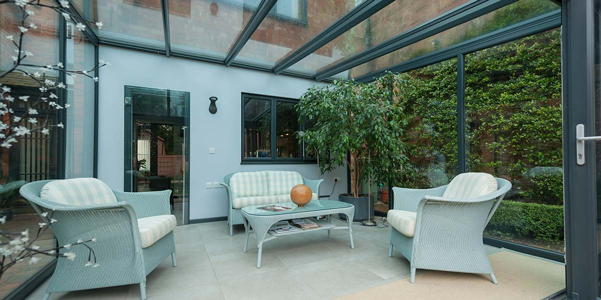 Classic Lean To Conservatory Finished In Grey Upvc Orion Windows